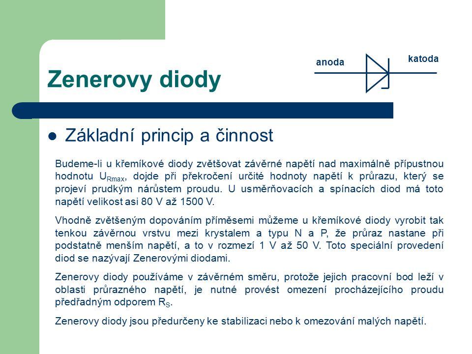 Zenerovy diody Základní princip a činnost