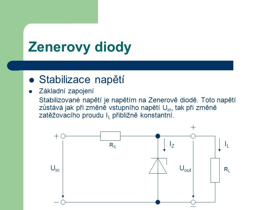 Zenerovy diody Stabilizace napětí Základní zapojení