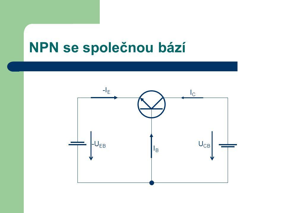 NPN se společnou bází -IE IC -UEB UCB IB