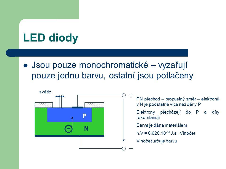 LED diody Jsou pouze monochromatické – vyzařují pouze jednu barvu, ostatní jsou potlačeny. světlo.