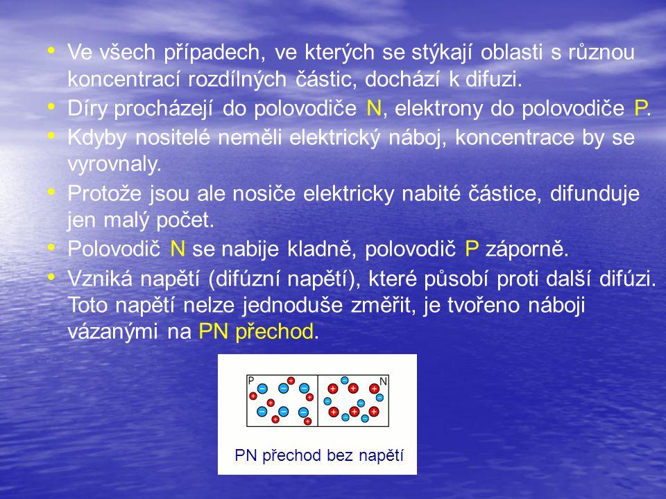 Díry procházejí do polovodiče N, elektrony do polovodiče P.