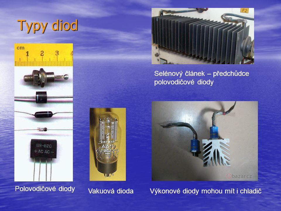 Typy diod Selénový článek – předchůdce polovodičové diody