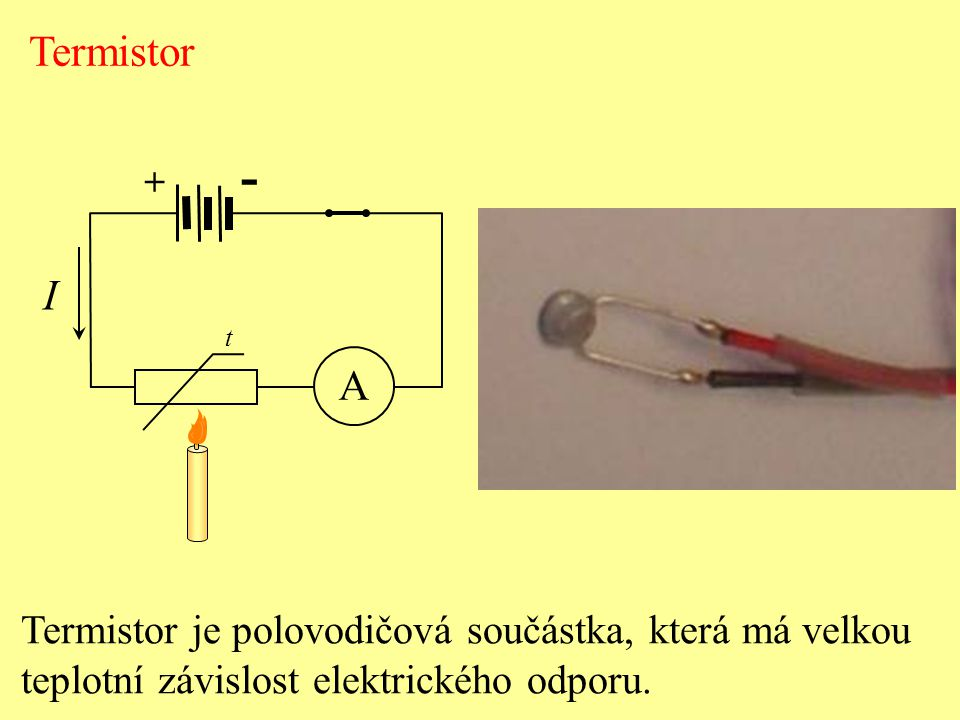 - Termistor I A Termistor je polovodičová součástka, která má velkou