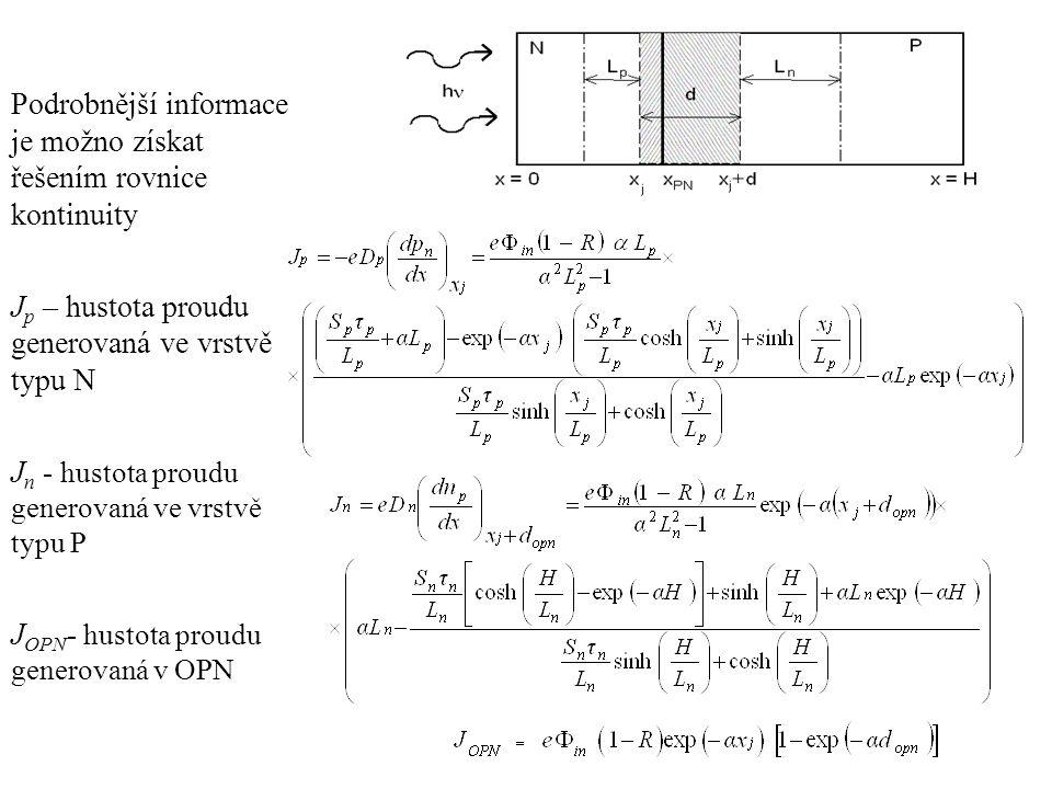 Podrobnější informace je možno získat řešením rovnice kontinuity