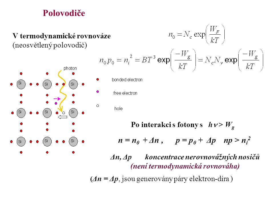 Polovodiče n = n0 + Δn , p = p0 + Δp np > ni2