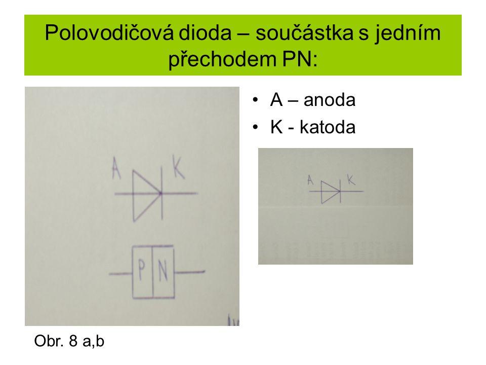 Polovodičová dioda – součástka s jedním přechodem PN:
