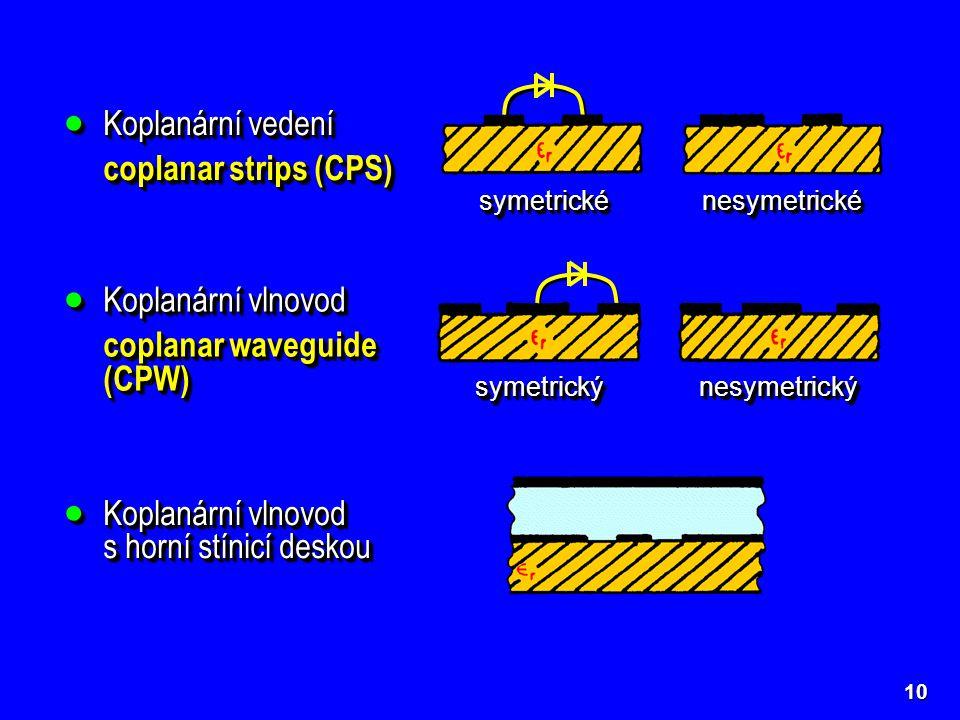 Koplanární vlnovod s horní stínicí deskou