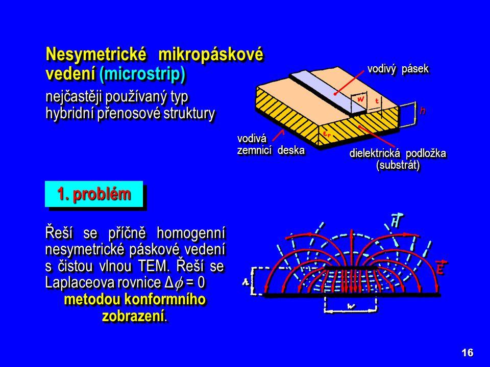 Nesymetrické mikropáskové vedení (microstrip)