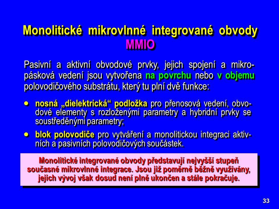 Monolitické mikrovlnné integrované obvody MMIO