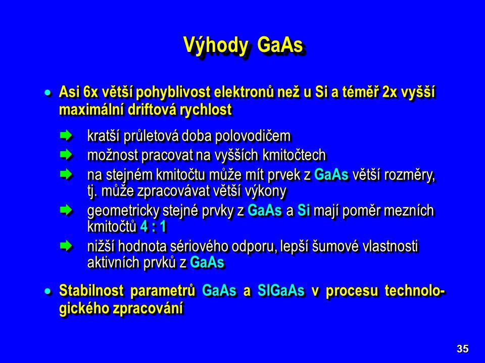 Výhody GaAs Asi 6x větší pohyblivost elektronů než u Si a téměř 2x vyšší maximální driftová rychlost.