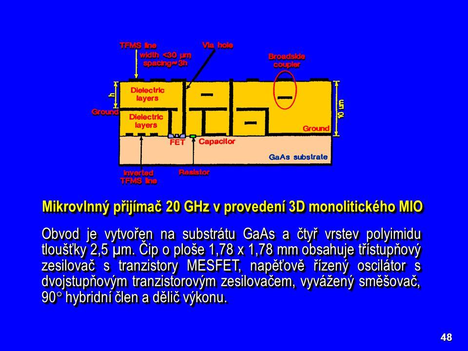 Mikrovlnný přijímač 20 GHz v provedení 3D monolitického MIO