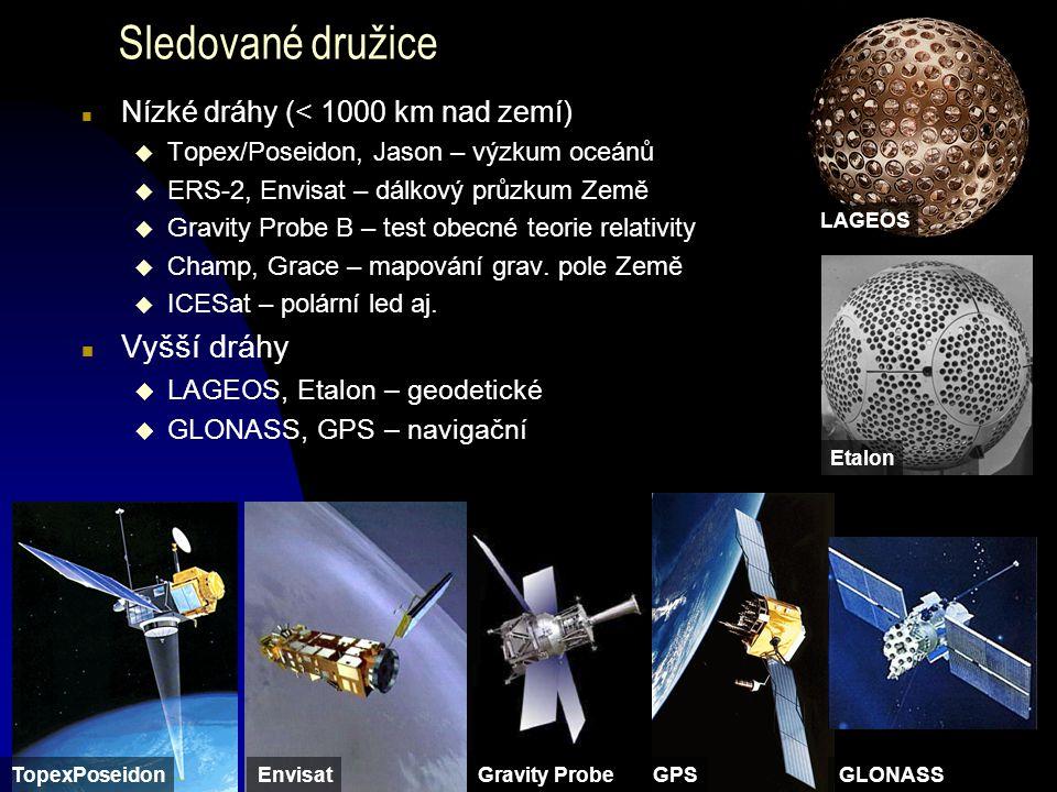Sledované družice Vyšší dráhy Nízké dráhy (< 1000 km nad zemí)