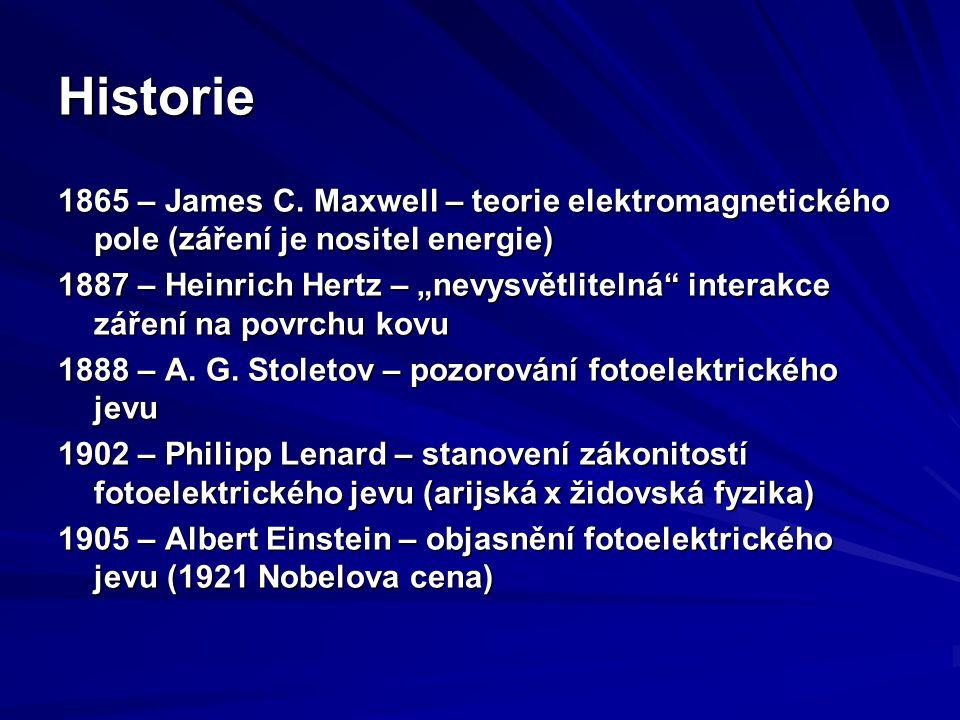 Historie 1865 – James C. Maxwell – teorie elektromagnetického pole (záření je nositel energie)