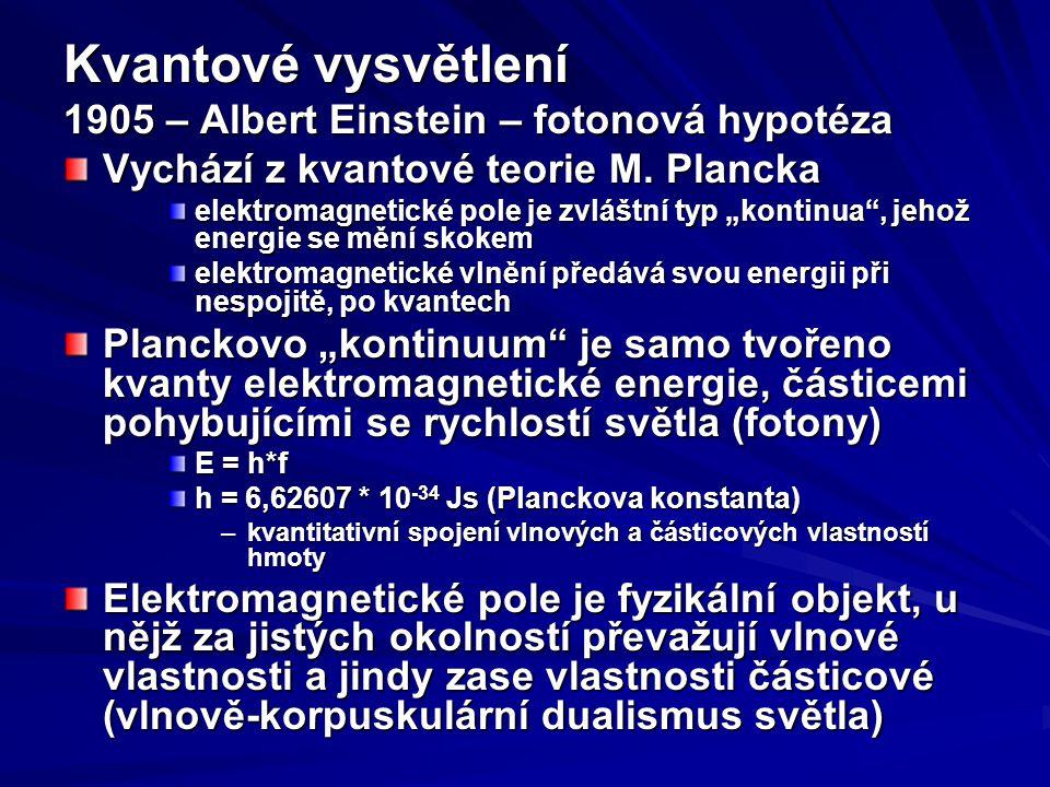 Kvantové vysvětlení 1905 – Albert Einstein – fotonová hypotéza