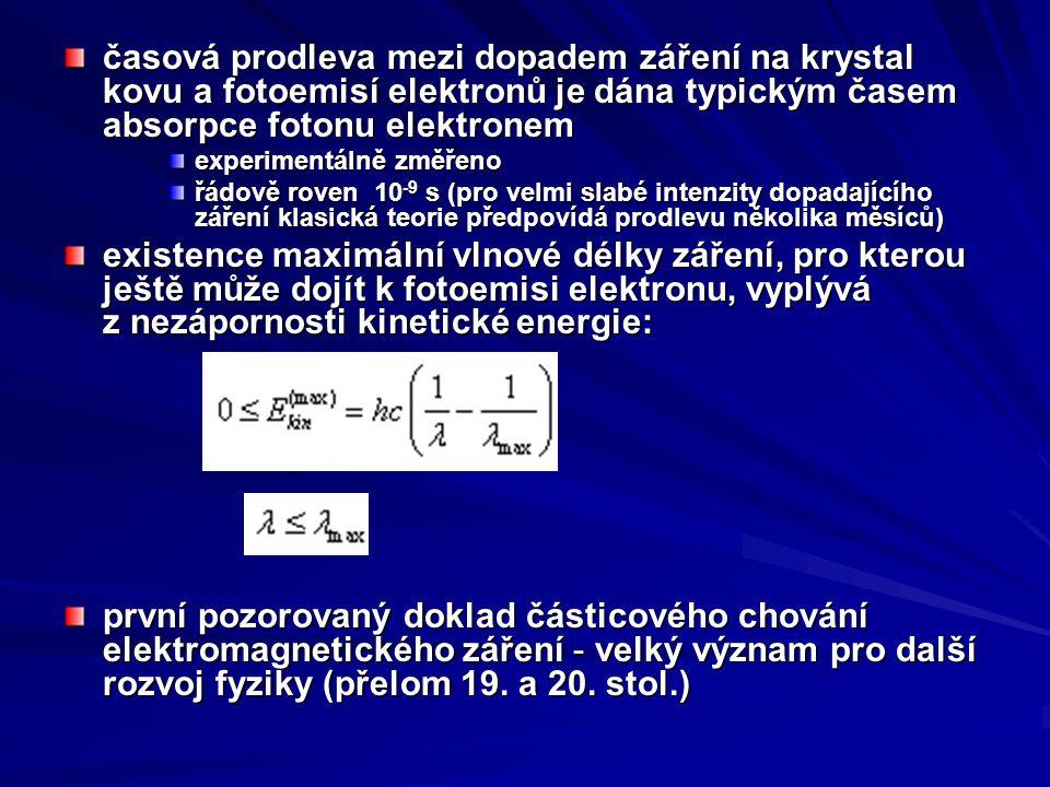 časová prodleva mezi dopadem záření na krystal kovu a fotoemisí elektronů je dána typickým časem absorpce fotonu elektronem