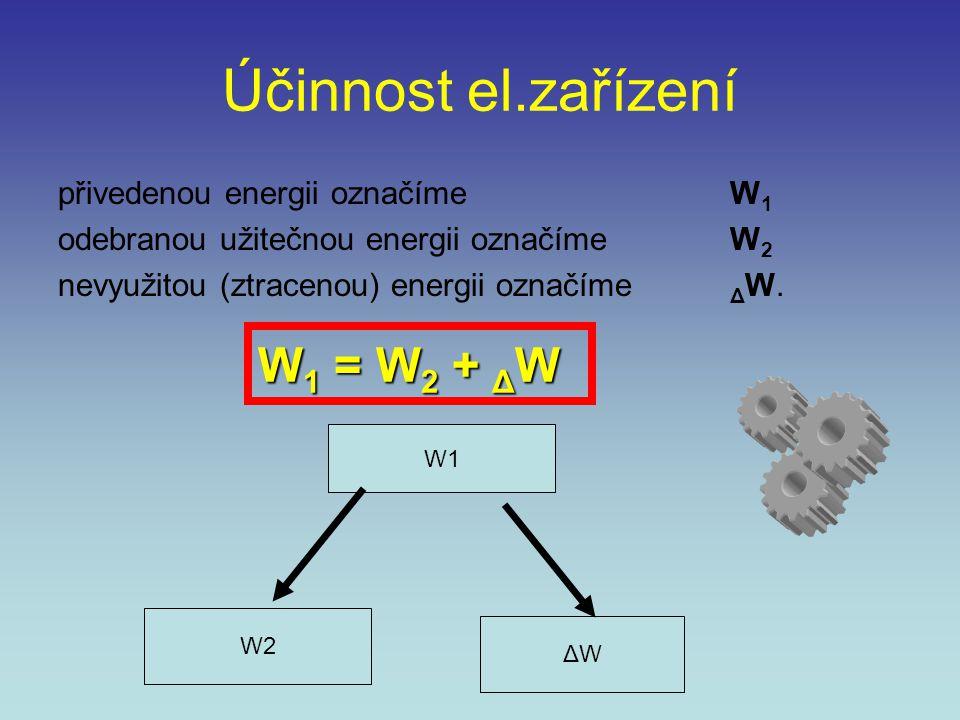 Účinnost el.zařízení W1 = W2 + ΔW přivedenou energii označíme W1