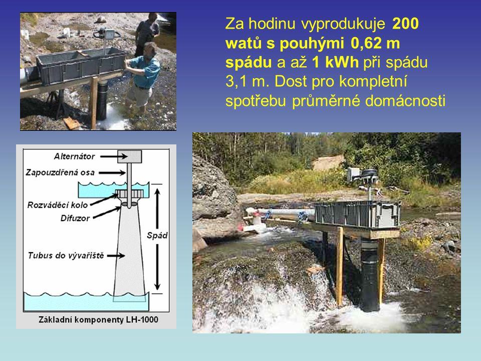 Za hodinu vyprodukuje 200 watů s pouhými 0,62 m spádu a až 1 kWh při spádu 3,1 m.