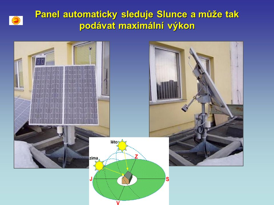 Panel automaticky sleduje Slunce a může tak podávat maximální výkon