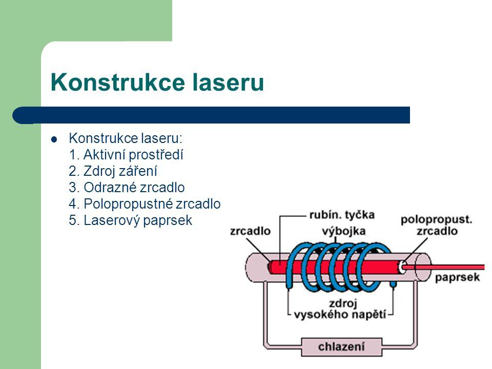 Konstrukce laseru Konstrukce laseru: 1. Aktivní prostředí 2.