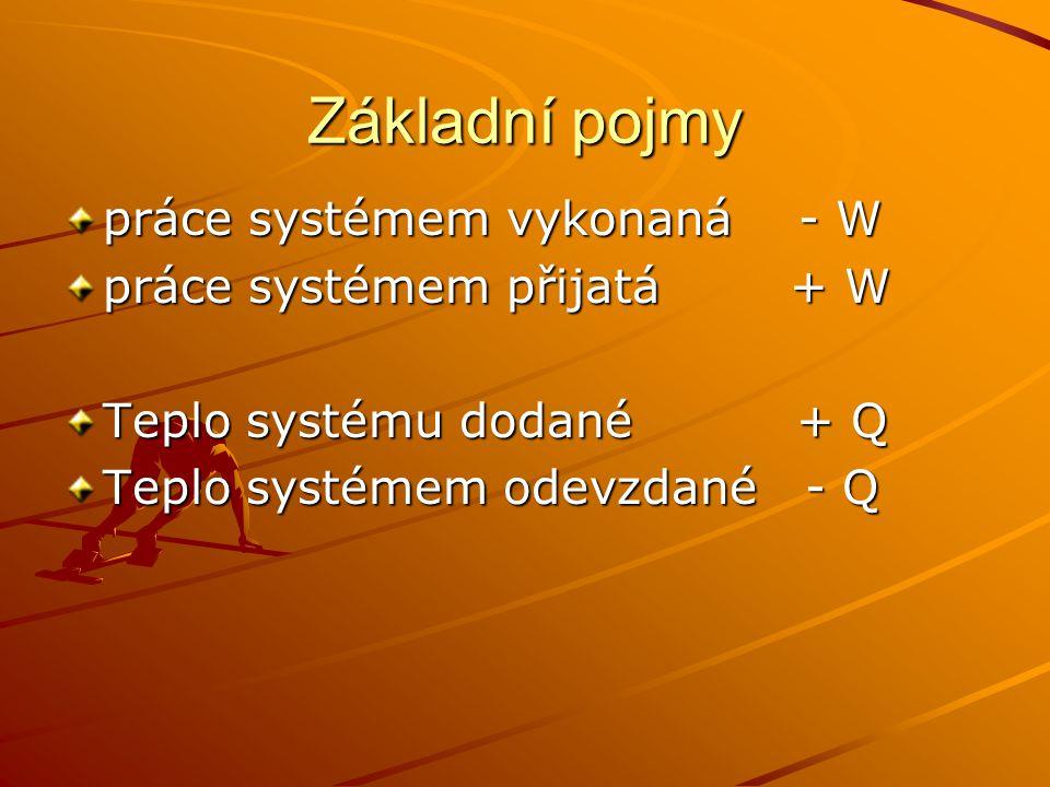 Základní pojmy práce systémem vykonaná - W práce systémem přijatá + W