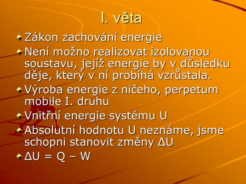I. věta Zákon zachování energie