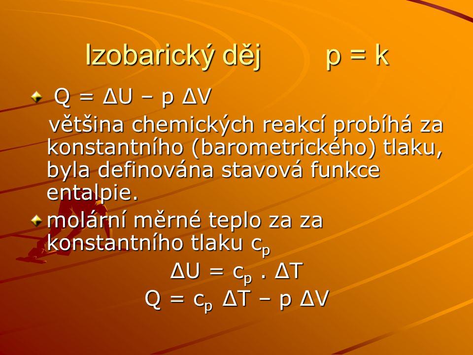 Izobarický děj p = k Q = ∆U – p ∆V