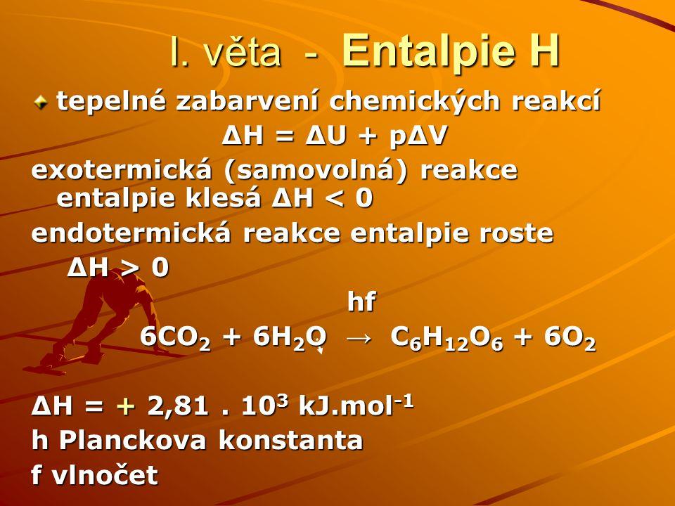 I. věta - Entalpie H tepelné zabarvení chemických reakcí ΔH = ΔU + pΔV