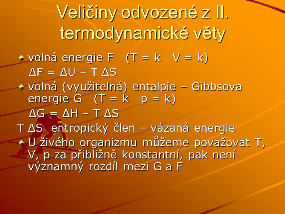 Veličiny odvozené z II. termodynamické věty