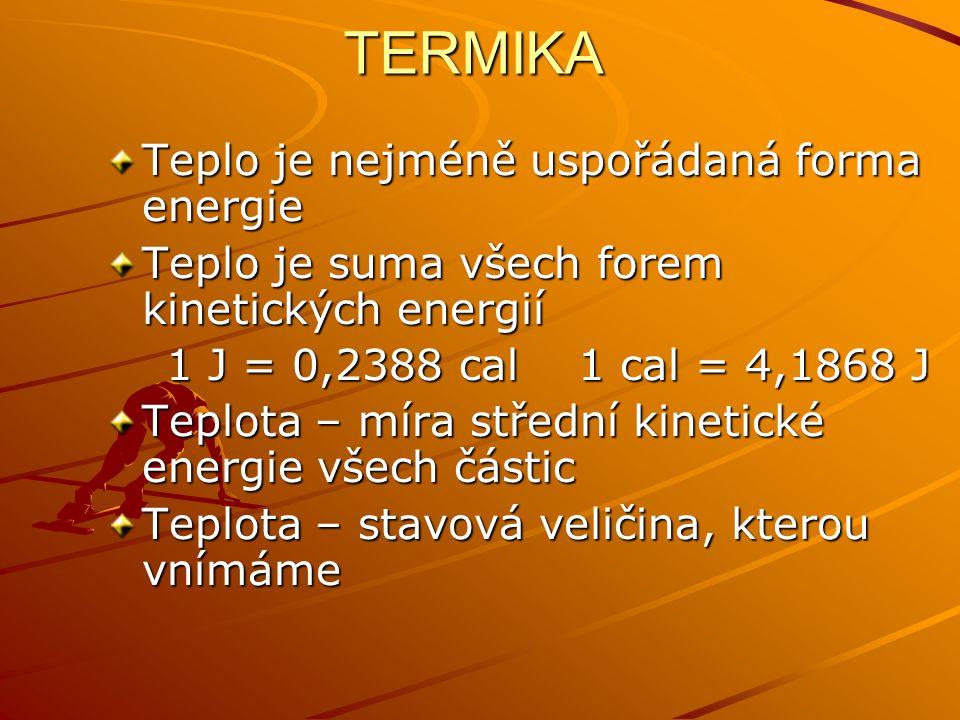 TERMIKA Teplo je nejméně uspořádaná forma energie
