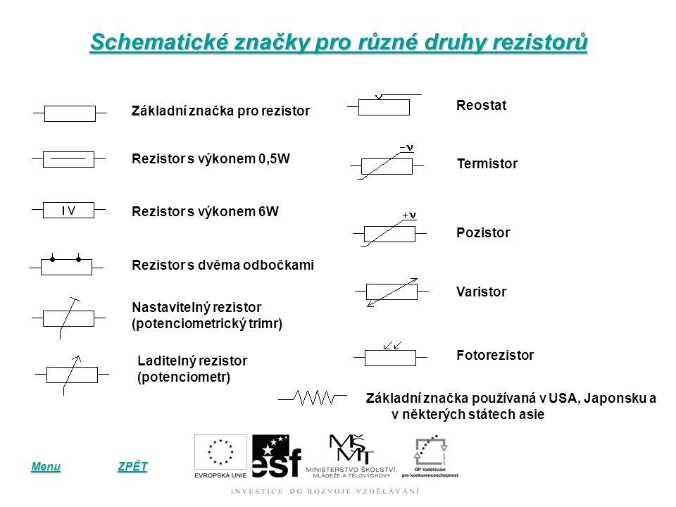 Schematické značky pro různé druhy rezistorů