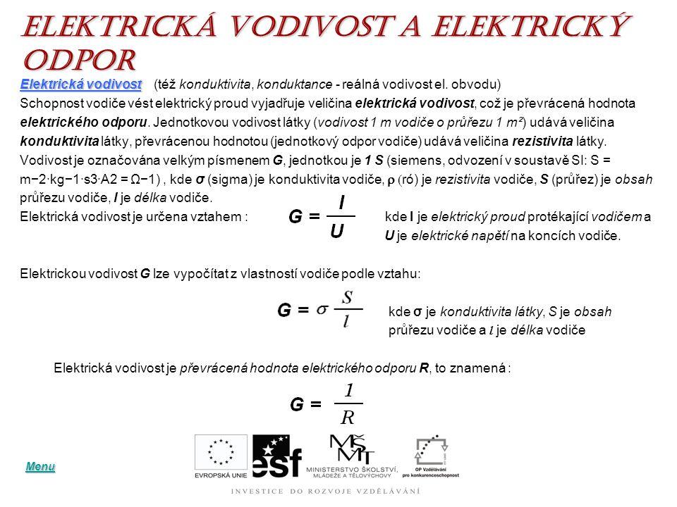 Elektrická VODIVOST a elektrický ODPOR