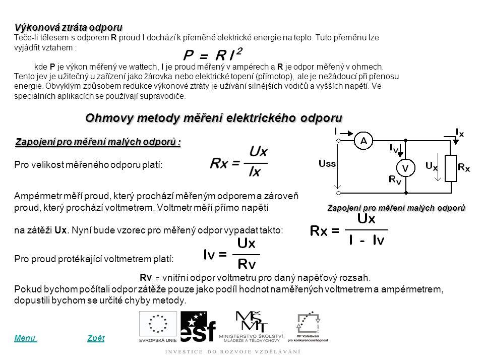 Ohmovy metody měření elektrického odporu