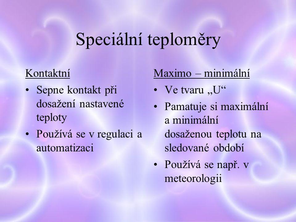 Speciální teploměry Kontaktní