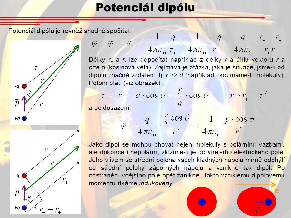 Potenciál dipólu Potenciál dipólu je rovněž snadné spočítat :