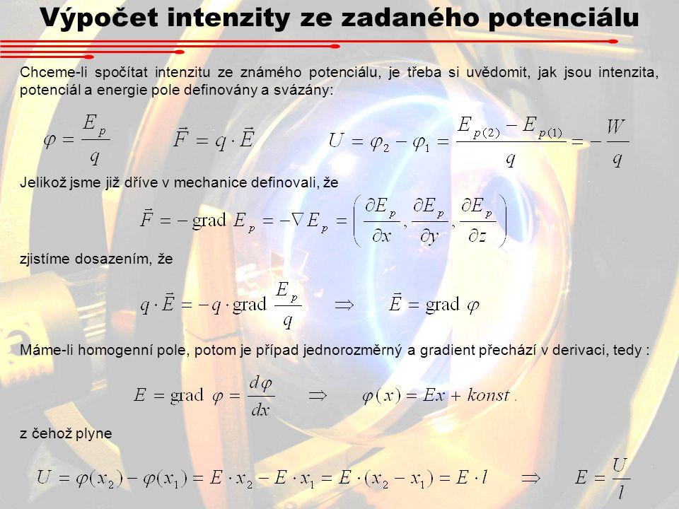 Výpočet intenzity ze zadaného potenciálu