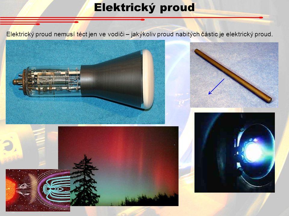 Elektrický proud Elektrický proud nemusí téct jen ve vodiči – jakýkoliv proud nabitých částic je elektrický proud.