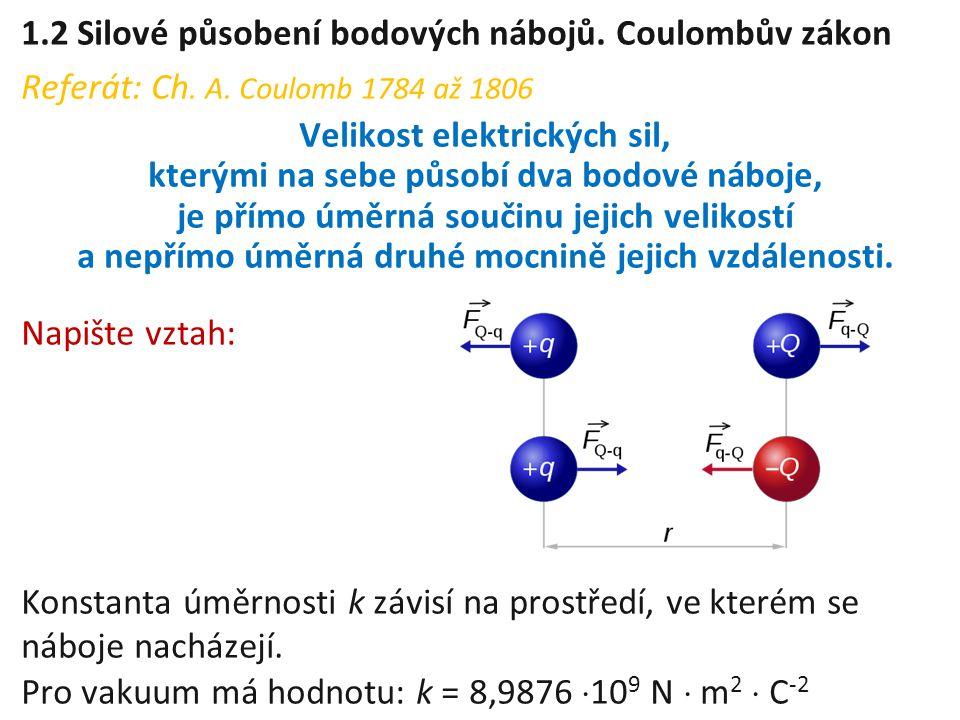 1.2 Silové působení bodových nábojů. Coulombův zákon