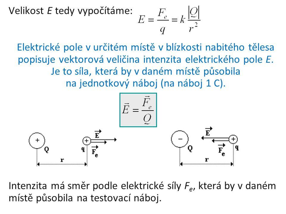 Velikost E tedy vypočítáme: