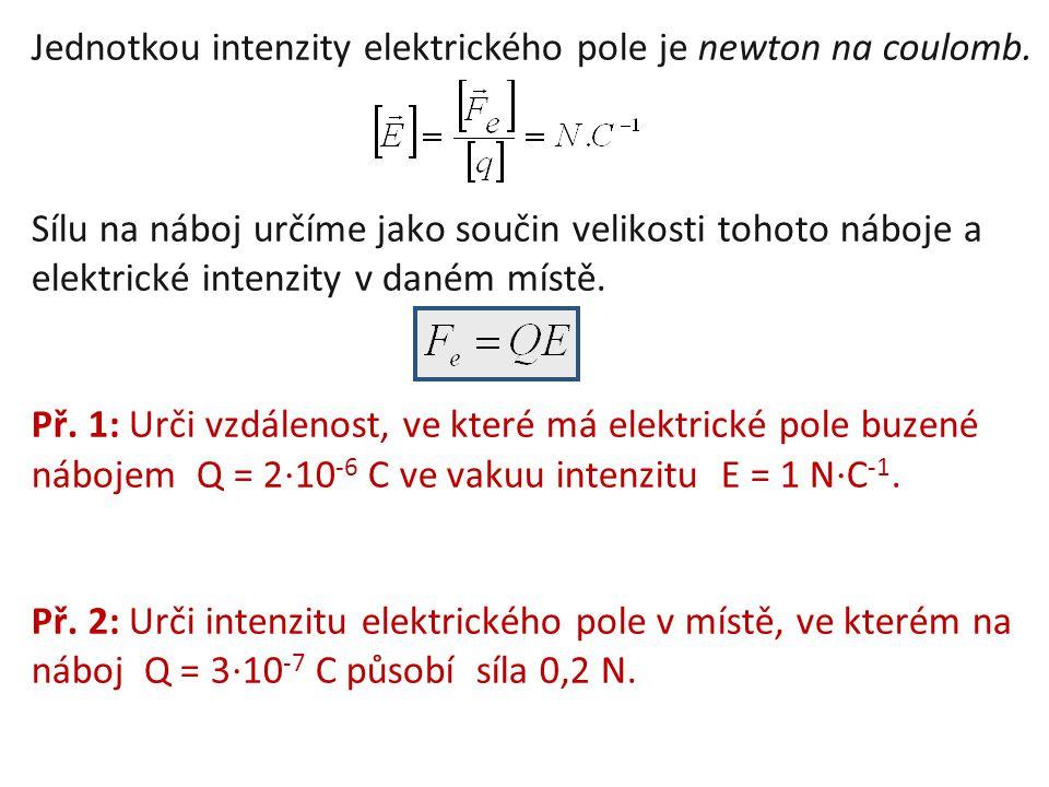 Jednotkou intenzity elektrického pole je newton na coulomb.