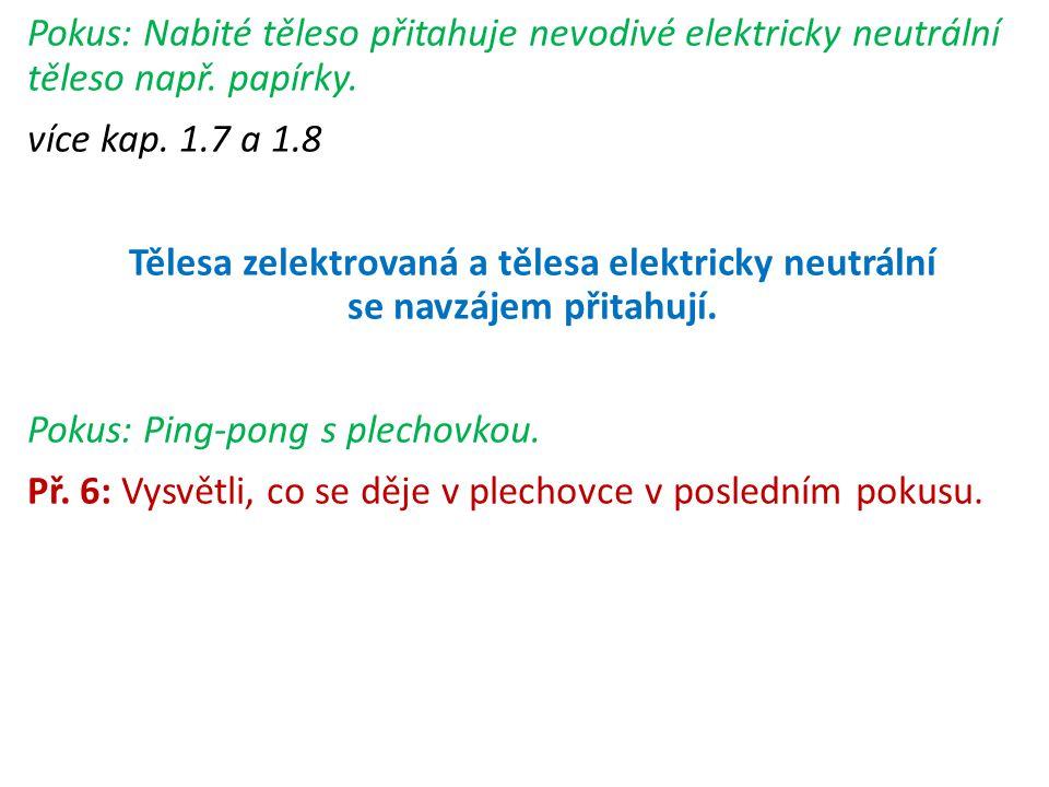 Pokus: Nabité těleso přitahuje nevodivé elektricky neutrální těleso např. papírky.