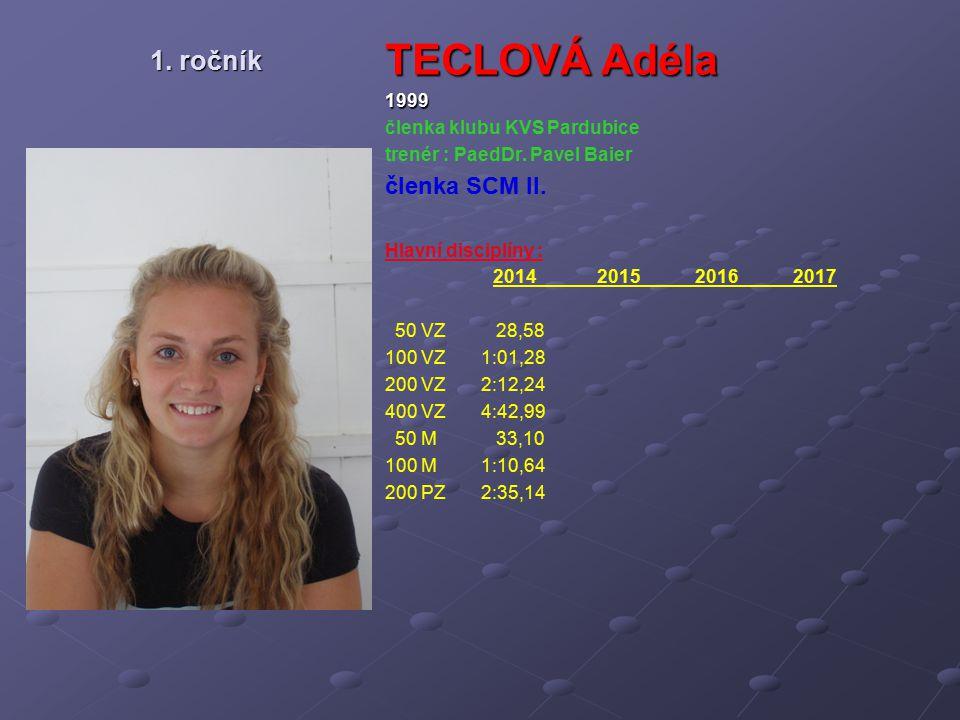 TECLOVÁ Adéla 1. ročník členka SCM II. 1999 členka klubu KVS Pardubice