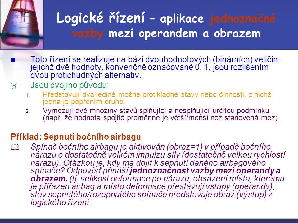 Logické řízení – aplikace jednoznačné vazby mezi operandem a obrazem