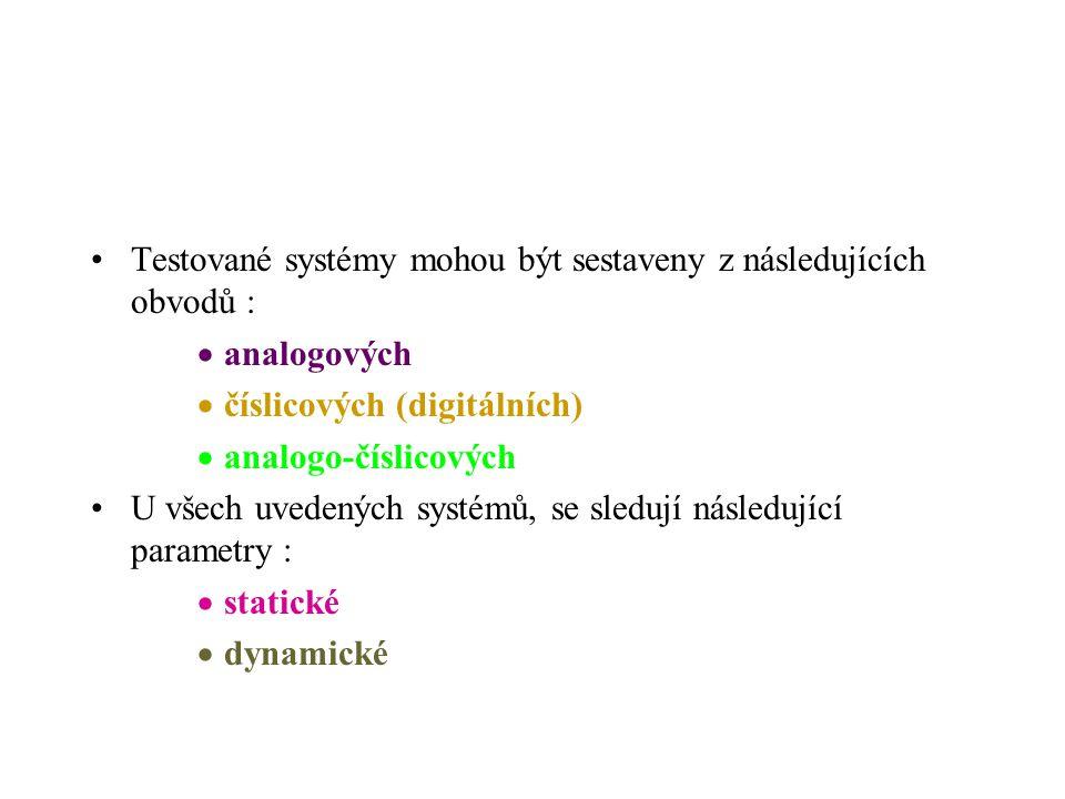 Testované systémy mohou být sestaveny z následujících obvodů :