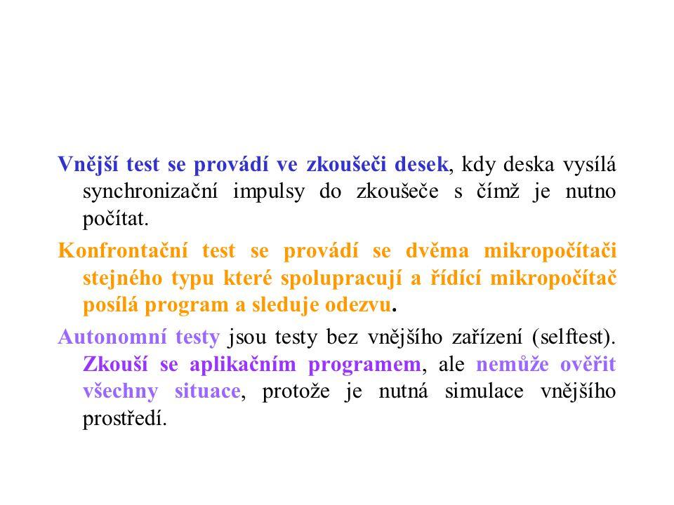 Vnější test se provádí ve zkoušeči desek, kdy deska vysílá synchronizační impulsy do zkoušeče s čímž je nutno počítat.