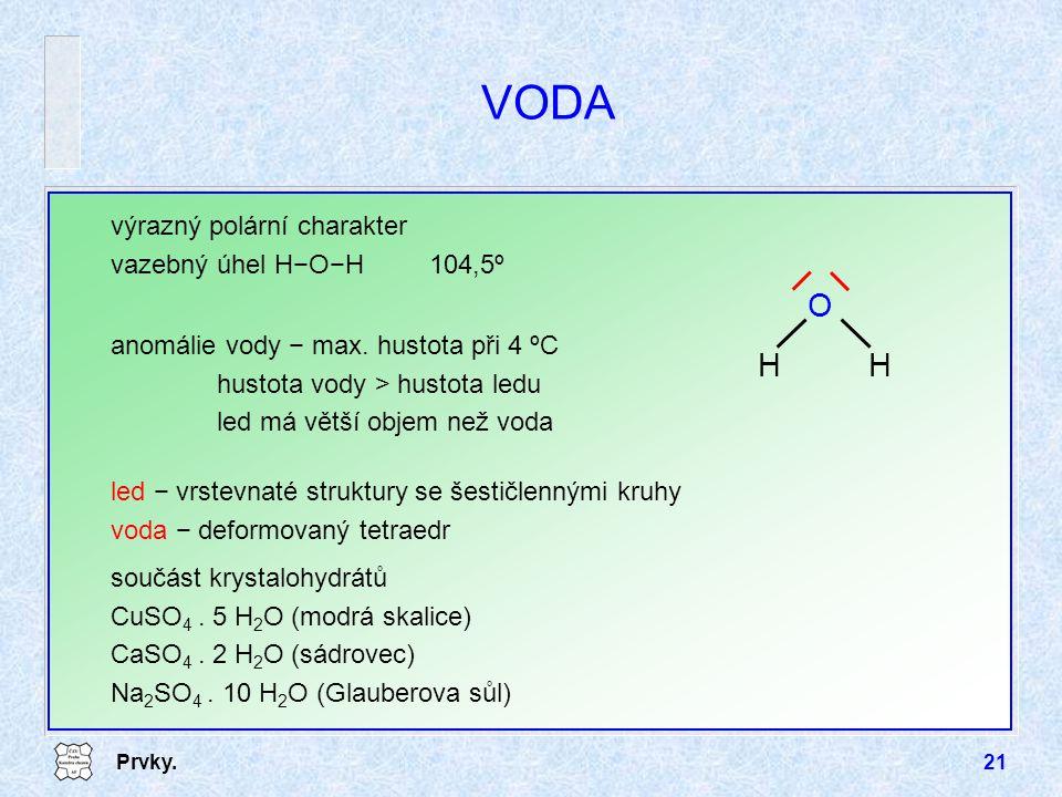 VODA O H výrazný polární charakter vazebný úhel H−O−H 104,5º