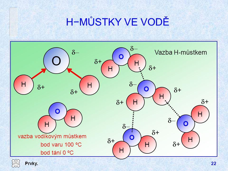O H−MŮSTKY VE VODĚ d- H d+ Vazba H-můstkem vazba vodíkovým můstkem