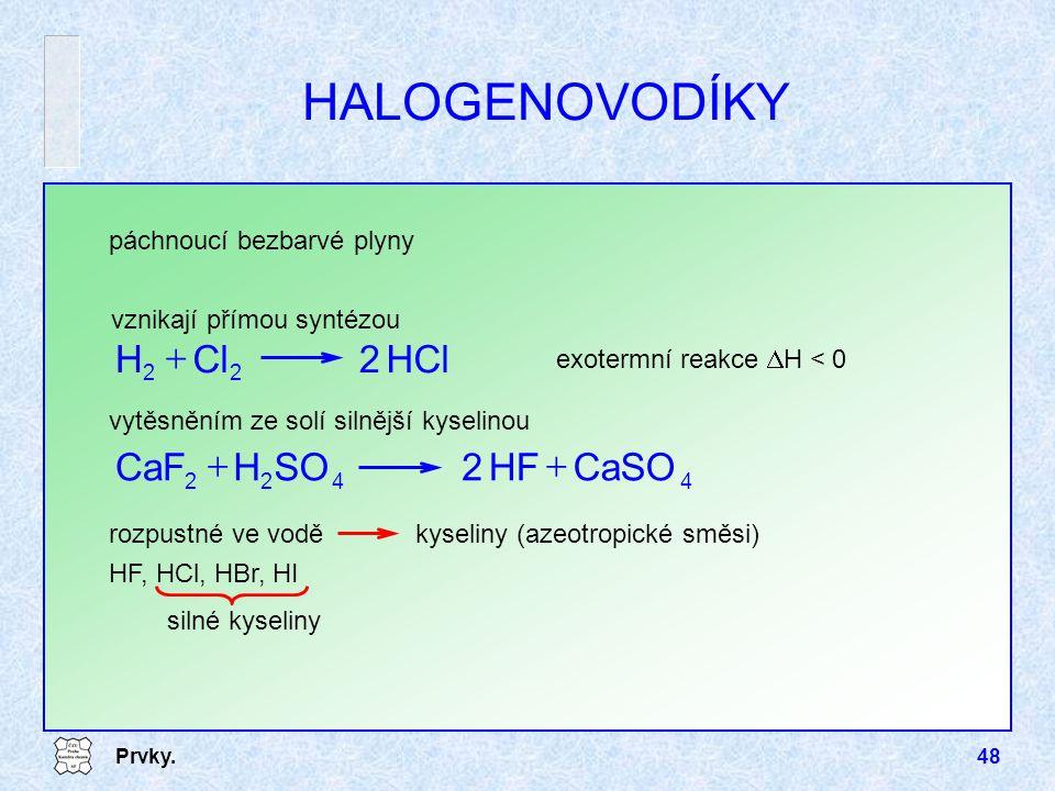 HALOGENOVODÍKY HCl 2 Cl H + CaSO HF SO H CaF +