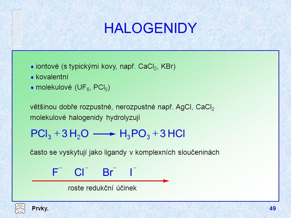 HALOGENIDY HCl 3 PO H O PCl + F Cl Br I