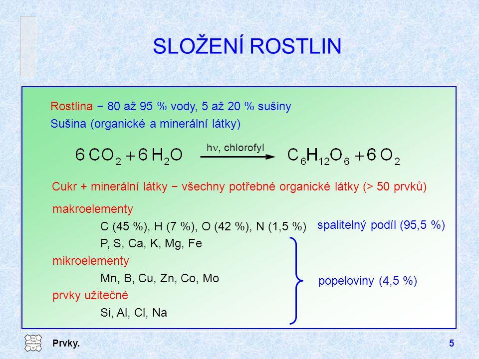 SLOŽENÍ ROSTLIN Rostlina − 80 až 95 % vody, 5 až 20 % sušiny