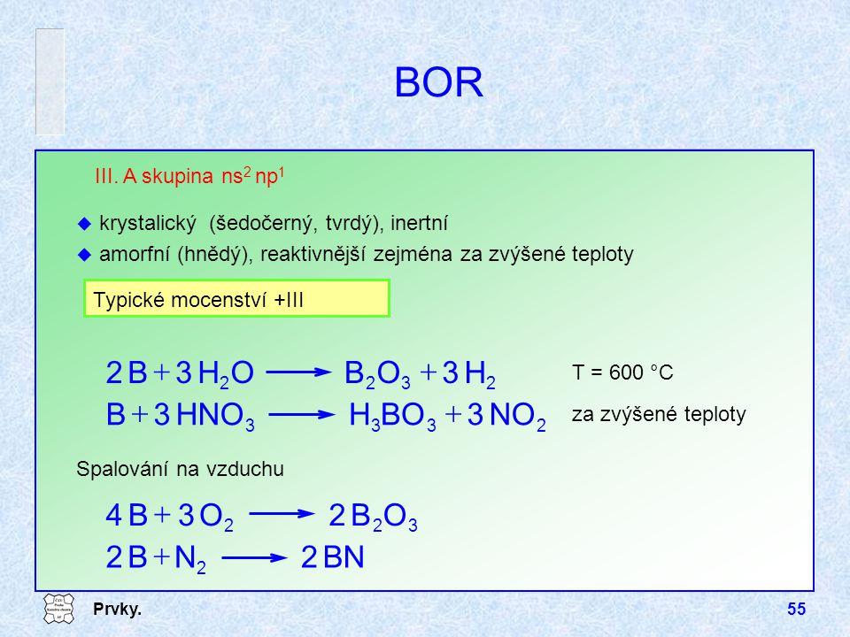 BOR H O B + NO BO H HNO B + O B 4 + BN 2 N B + III. A skupina ns2 np1